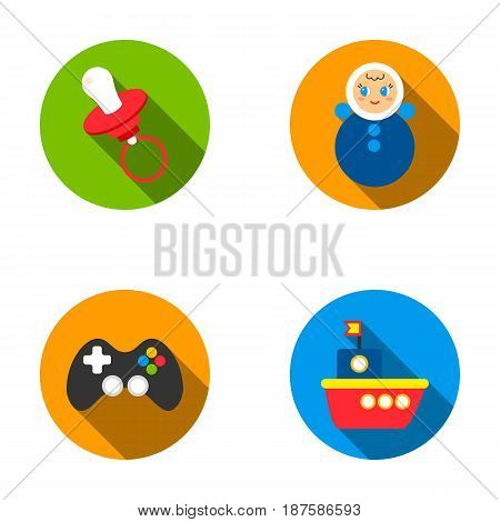 Nipple, doll tumbler, joystick, ship.Toys set collection icons in flat style vector symbol stock illustration .
