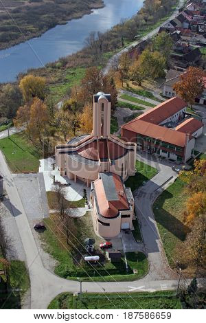 BUDASEVO, CROATIA - NOVEMBER 05: Parish Church of Blessed Aloysius Stepinac in Budasevo, Croatia on November 05, 2007