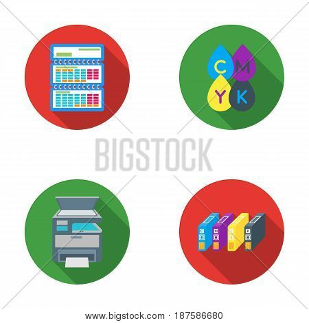 Calendar, drops of paint, cartridge, multifunction printer. Typography set collection icons in flat style vector symbol stock illustration .