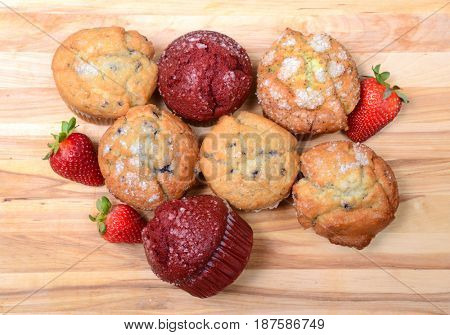 Overhead shot of a variety of delicious muffins