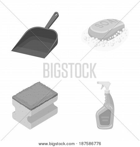 Blue scoop for garbage, pink soap with foam, sponge for washing, pulvelizer for with a means for windows. Cleaning set collection icons in monochrome style vector symbol stock illustration .