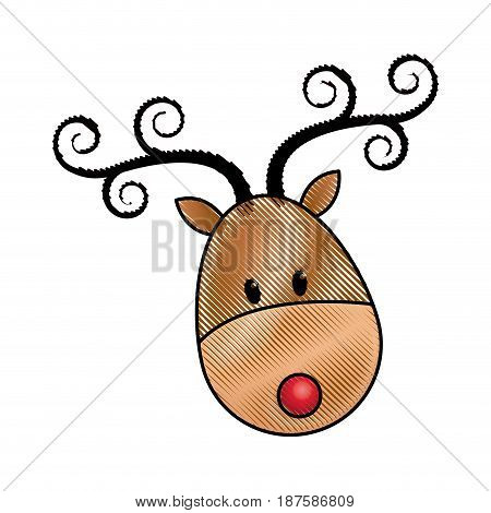 happy cartoon christmas reindeer character vector illustration