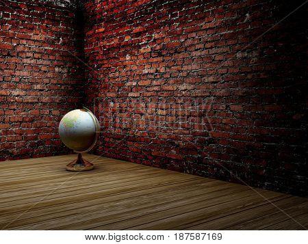 Globe in the old room.,3d render