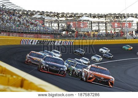 May 20, 2017 - Concord, NC, USA: Daniel Suarez (19) leads the field to a restart during the Monster Energy Open at Charlotte Motor Speedway in Concord, NC.