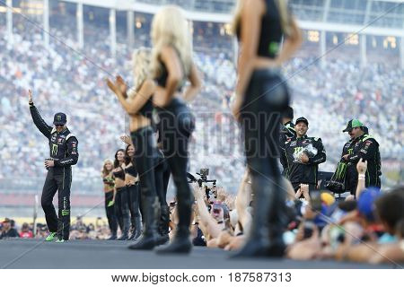 May 20, 2017 - Concord, NC, USA:  Kurt Busch (41) gets introduced with his crew at Charlotte Motor Speedway in Concord, NC.