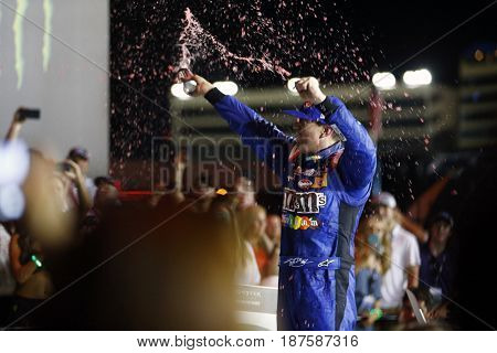May 20, 2017 - Concord, NC, USA: Kyle Busch (18) wins the Monster Energy NASCAR All-Star Race at Charlotte Motor Speedway in Concord, NC.