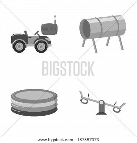 Machine for radio control, tunnel, trampoline, swing. Playground set collection icons in monochrome style vector symbol stock illustration .
