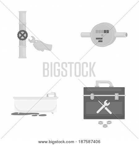 Water meter, bath and other equipment.Plumbing set collection icons in monochrome style vector symbol stock illustration .