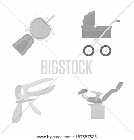 Artificial insemination, baby carriage, instrument, gynecological chair. Pregnancy set collection icons in monochrome style vector symbol stock illustration flat.