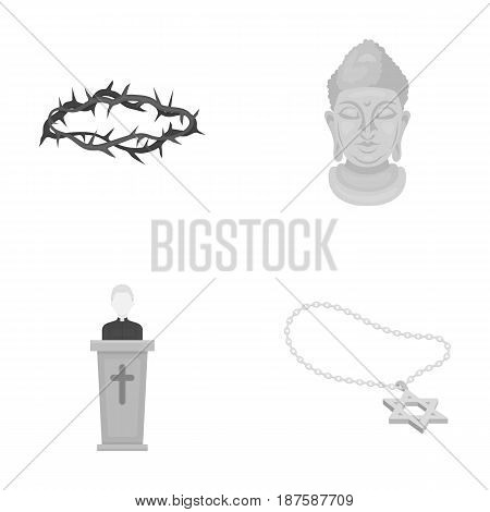 A crown of thorns, a star of David, a priest, a buddha s head. Religion set collection icons in monochrome style vector symbol stock illustration .