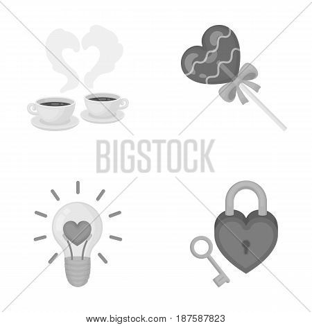 Cups with coffee, valentine, lamp, lock with key. Romantic set collection icons in monochrome style vector symbol stock illustration .