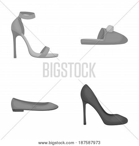Blue high-heeled sandals, homemade lilac slippers with a pampon, pink women s ballet flats, brown high-heeled shoes. Shoes set collection icons in monochrome style vector symbol stock illustration .