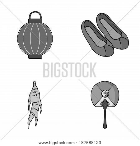 Healing root, Korean flashlight, national shoes, multi-colored fan. South Korea set collection icons in monochrome style vector symbol stock illustration .