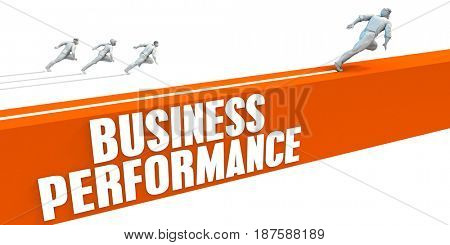 Business Performance Express Lane with Business People Running 3D Illustration Render