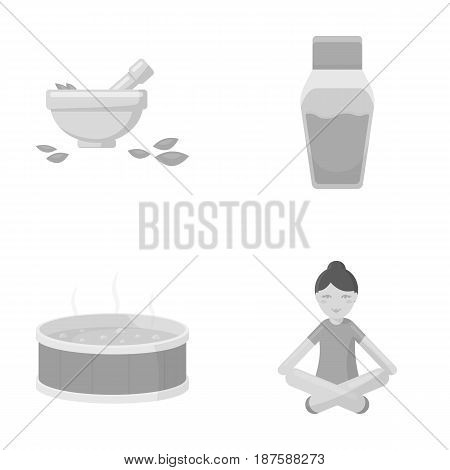 A bowl with flower petals and tolkushka, a bottle with ointment or cream, a pool with water, a woman in a yoga pose. Spa set collection icons in monochrome style vector symbol stock illustration .