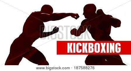 Kickboxing Class with Silhouette of Two Men Fighting 3D Illustration Render