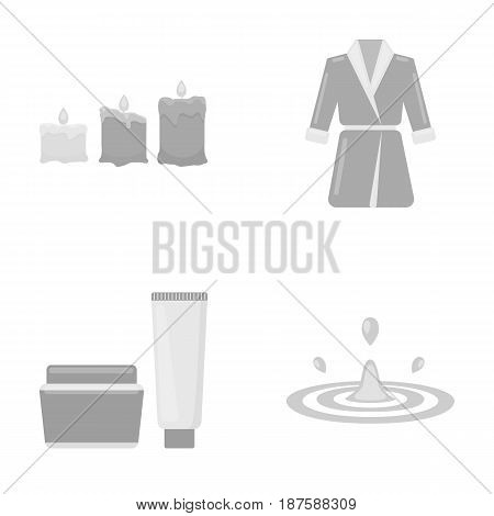 Multicolored burning candles, a pink robe with a yellow belt and a collar, a tube with cream and a jar with an ointment, a drop of water.Spa set collection icons in monochrome style vector symbol stock illustration .