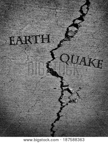 Earth quake represented by cracked cement