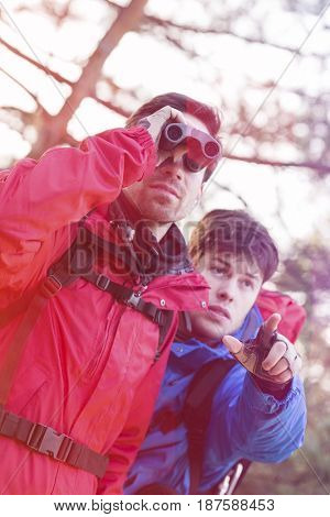 Male hiker using binoculars while friend showing him something in forest