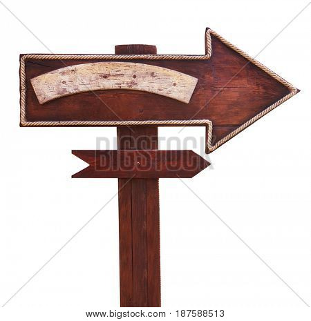 Old wooden road signboard, arrow. Isolated on white background