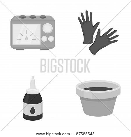 Rubber gloves, ink and other equipment. Tattoo set collection icons in monochrome style vector symbol stock illustration .