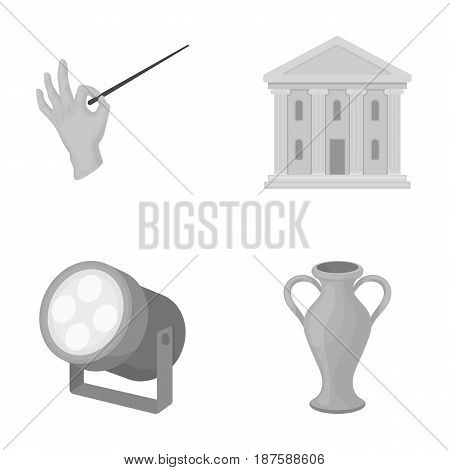 Conductor s baton, theater building, searchlight, amphora.Theatre set collection icons in monochrome style vector symbol stock illustration .