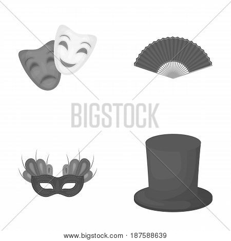 Theatrical mask, cylinder, fan, mask on the eyes. Theater set collection icons in monochrome style vector symbol stock illustration .