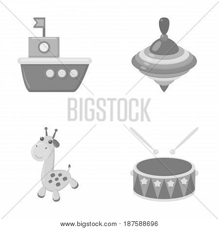 Ship, yule, giraffe, drum.Toys set collection icons in monochrome style vector symbol stock illustration .