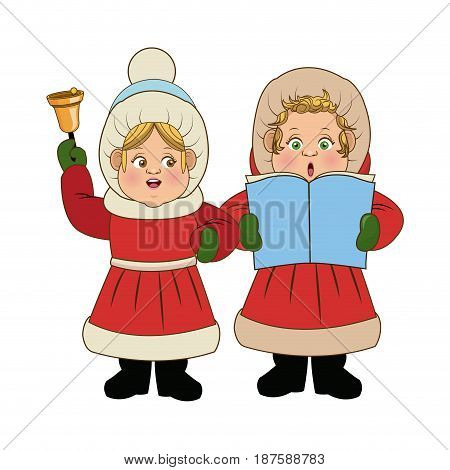 cartoon woman christmas caroling with song book and bell vector Illustration