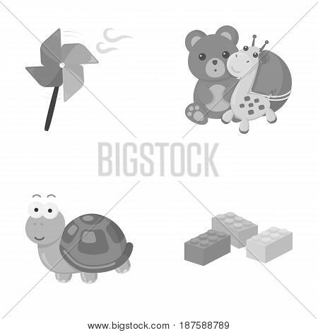 A toy propeller, a teddy bear with a giraffe and a colorful ball, a toy turtle, a lego, a designer for children. Toys set collection icons in monochrome style vector symbol stock illustration .