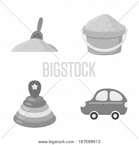 A red scoop in the sand, a green bucket with sand, a multi-colored pyramid, a blue toy car. Toys set collection icons in monochrome style vector symbol stock illustration .