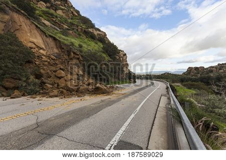 Landslide road closure on Santa Susana Pass Road in Los Angeles, California.