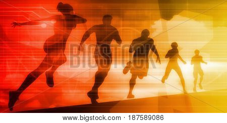 Sports Background Illustration Concept with Running People 3D Illustration Render