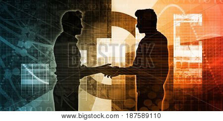 Business Partnership Concept with Two Men Shaking Hands 3D Illustration Render