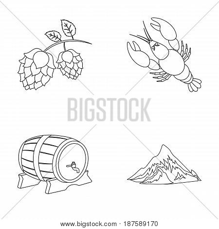 Alps, a barrel of beer, lobster, hops. Oktoberfestset collection icons in monochrome style vector symbol stock illustration .