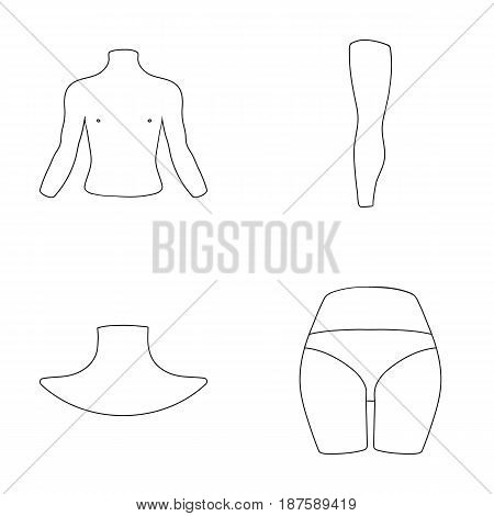Torso, leg, neck and buttocks. Body parts set collection icons in monochrome style vector symbol stock illustration .