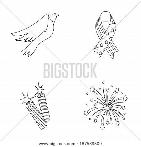 American eagle, ribbon, salute. The patriot s day set collection icons in outline style vector symbol stock illustration .