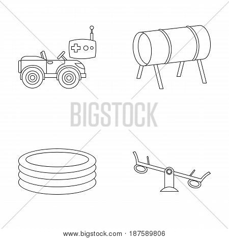 Machine for radio control, tunnel, trampoline, swing. Playground set collection icons in outline style vector symbol stock illustration .