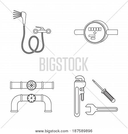 Shower, faucet, water meter and other equipment.Plumbing set collection icons in outline style vector symbol stock illustration .