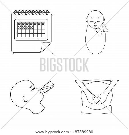Calendar, newborn, stomach massage, artificial feeding. Pregnancy set collection icons in outline style vector symbol stock illustration flat.