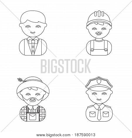 Cook, operator, fireman, artist.Profession set collection icons in outline style vector symbol stock illustration .
