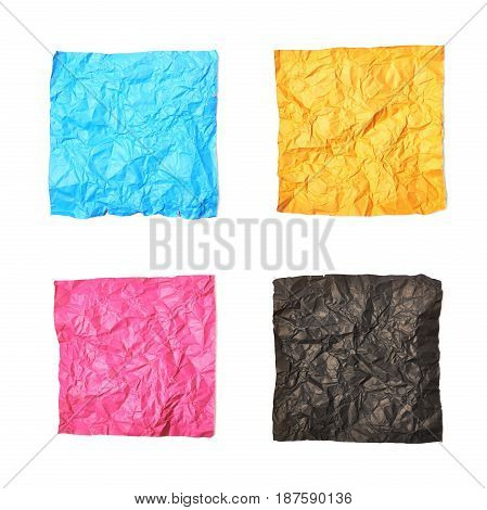 Set of crumpled square shaped origami paper sheets isolated over the white background, set of four different color versions