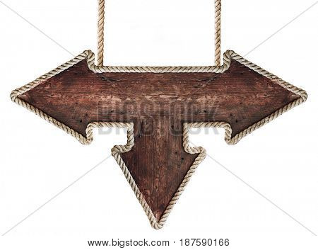 Old wooden road signboard. Arrow sign hanging on ropes. Isolated on white background