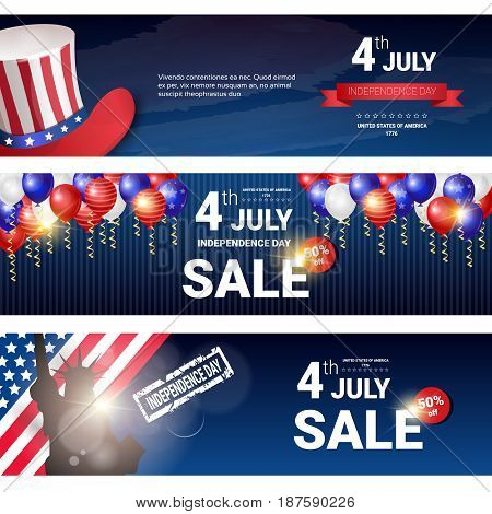 Shopping Sale To United States Independence Day Holiday 4 July Discount Banner Set Flat Vector Illustration