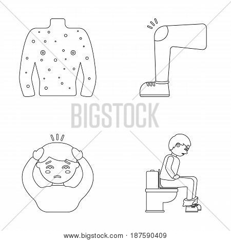 The human body is covered with ulcers, boils, a red rash, a knee of a man with a bruise, a patient with a headache and asterisks, a person sitting on the toilet with stomach disease. Sick set collection icons in outline style vector symbol stock illustrat