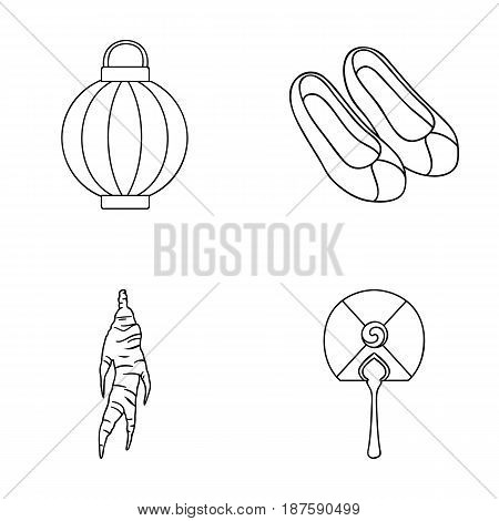 Healing root, Korean flashlight, national shoes, multi-colored fan. South Korea set collection icons in outline style vector symbol stock illustration .