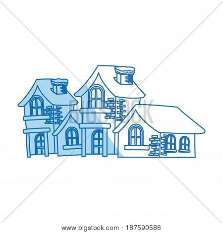 christmas houses covered with snow with chimney vector illustration