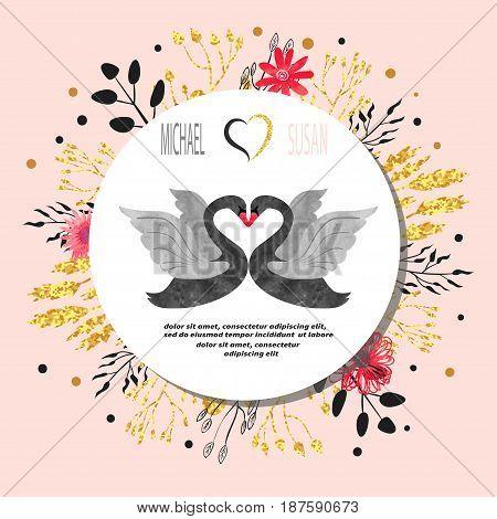 Wedding invitation card design with black swans. Vector illustration.