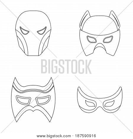 Mask on the head and eyes. Super Hero Mask set collection icons in outline style vector symbol stock illustration .