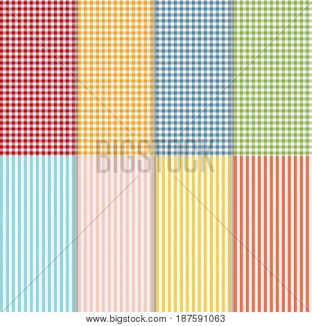 Set of seamless gingham buffalo check plaid and bed linen patterns. Eight checkered and striped seamless patterns. Vector